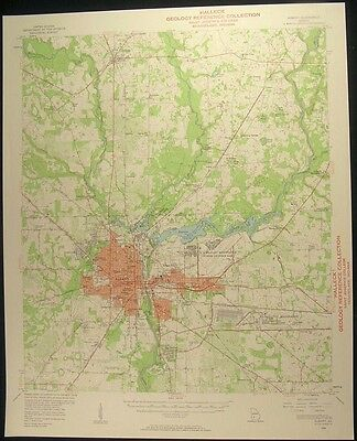 Albany Georgia Leesburg Dougherty Co. 1958 vintage USGS original Topo chart map