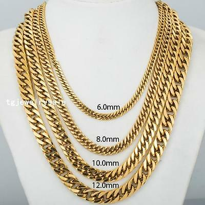6/8/10/12mm Mens Charm Stainless Steel 18k Gold Link Curb Cuban Chain Necklace
