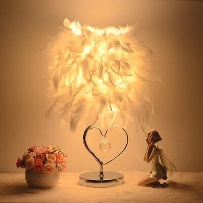 Feather Shade Lamp Heart Metal Elegant Table Bedside Night Light Home Decor New