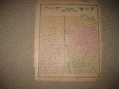 Antique 1877 Albee Saginaw County Michigan Handcolored Map Land Owners Rare Nr