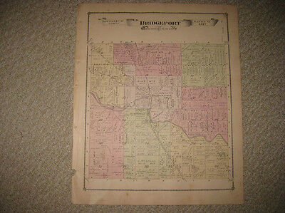 Antique 1877 Bridgeport Township & City Saginaw County Michigan Handcolored Map