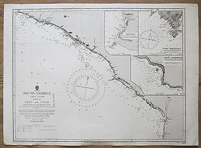 1836 South America Peru & Chile Surveyed By H.m.s. Beagle Admiralty Chart Map
