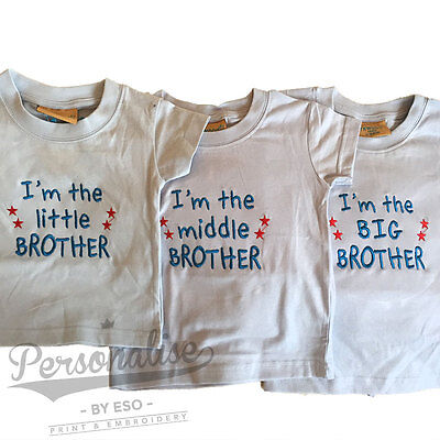 I'm the LITTLE MIDDLE BIG BROTHER T-shirt Baby Boy Blue White Slogan Tee Gift