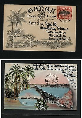 Tonga great  scenic postal card to New Zealand 1909  great  card     APL1202