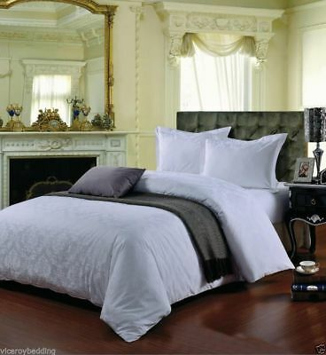 100% Egyptian Cotton 500 Thread Count Damask Jacquard Duvet Cover Bed Set WHITE