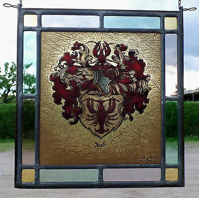 Leaded Glass Window Picture Glass Painting Cancer Arm Signed Pitt Van Treeck