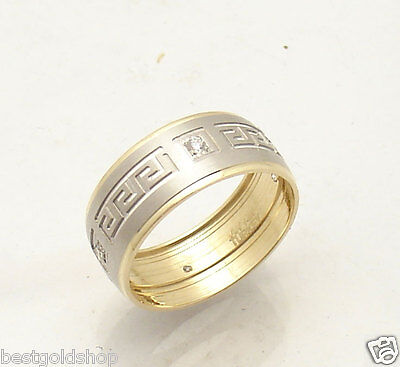 Size 8 Greek Key Design Band Ring with CZ Solid Real 14K Yellow White Gold