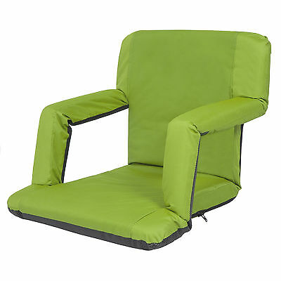 Portable Reclining Seat Padded Cushion Camping Chair Backpack Beach Chair Green