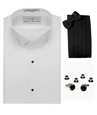 "Wing Collar 1/4"" Pleats Tuxedo Shirt, Cummerbund, Bow-Tie, Cuff Links & Studs"