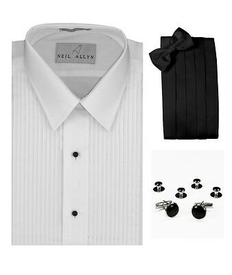 "Lay-Down Collar 1/4"" Pleats Tuxedo Shirt Cummerbund, Bow-Tie, Cuff Links & Studs"