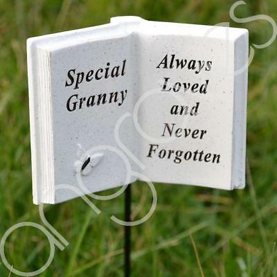 Special Granny Memorial Book Tribute Stick with Message Grave Graveside Plaque