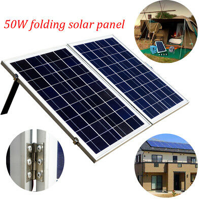 50W Poly Folding Foldable Solar Panel Kit W/ Controller for 12V Off Grid Boat