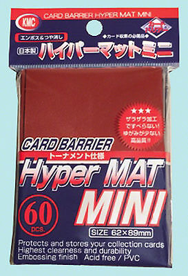 60 KMC MINI HYPER MAT RED Small Card Barrier NEW Matte Deck Protector Sleeves