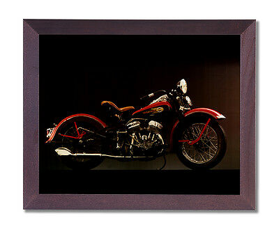 1940 Harley Davidson Motorcycle Wall Picture Cherry Framed Art Print