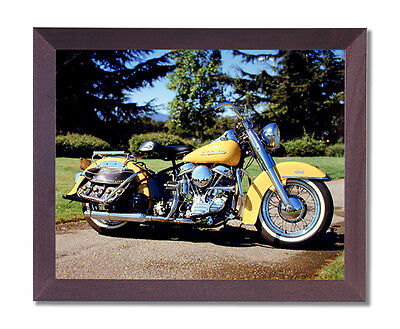 1954 Panhead Harley Davidson Motorcycle Wall Picture Cherry Framed Art Print