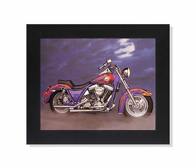 1986 Harley Davidson FXR w/ Flames Motorcycle Wall Picture Black Framed