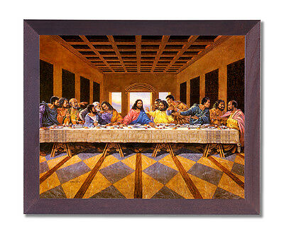 Black Last Supper Jesus Christ Religious Wall Picture Cherry Framed Art Print