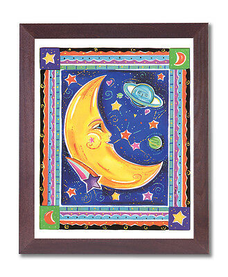 Celestial Moon Galaxy Kids Room Wall Picture Cherry Framed Art Print
