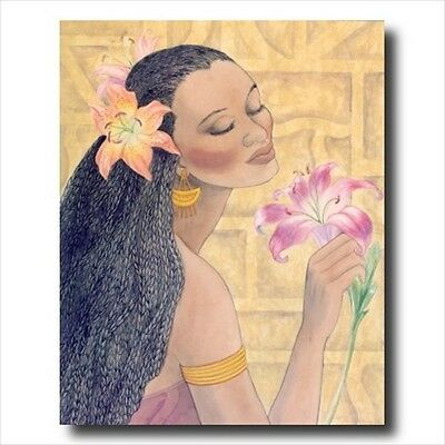 African American Flowers Girl Wall Picture Art Print