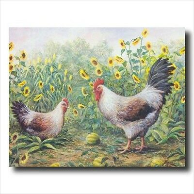 Exotic Chickens In Sunflowers Wall Picture Art Print