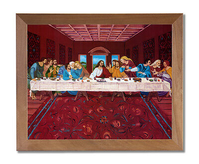 Jesus Christ The Last Supper Religious Wall Picture Honey Framed Art Print