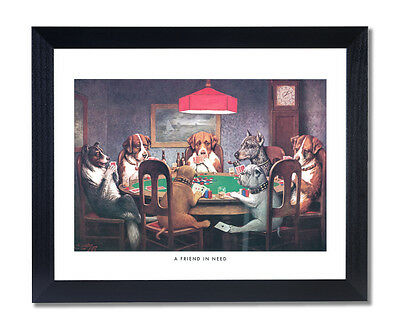 Dogs Playing Poker At Table #1 A Friend In Need Coolidge Picture Framed
