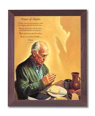 Man Praying At Dinner Table Religious Wall Picture Cherry Framed Art Print