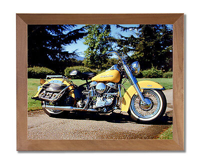 1954 Panhead Harley Davidson Motorcycle Wall Picture Honey Framed Art Print
