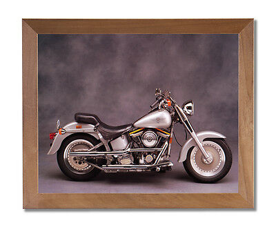 Silver Harley Davidson Fatboy Motorcycle Wall Picture Honey Framed Art Print