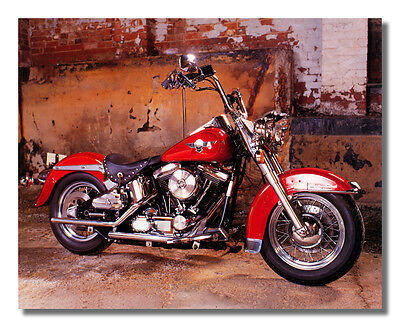Red Harley Davidson Softail Motorcycle Photo Wall Picture 8x10 Art Print