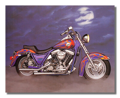 1986 Harley Davidson FXR w/ Flames Motorcycle Wall Picture 8x10 Art Print