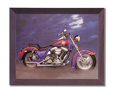 1986 Harley Davidson Motorcycle Wall Picture Cherry Framed Art Print