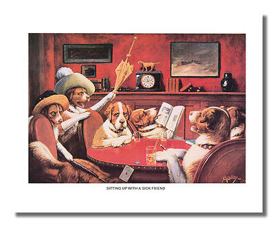 Dogs Playing Poker at Table #2 Sitting Up w/Friend Wall Picture 8x10 Art Print
