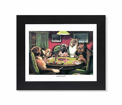 Dogs Playing Poker at Table #4 A Bold Bluff Wall Picture Black Framed