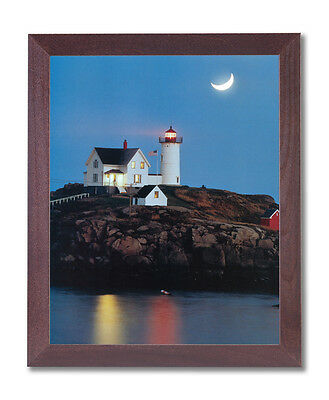 Ocean Lake Lighthouse Moon Landscape Wall Picture Cherry Framed Art Print