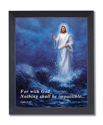 Jesus Christ Walking On Water Religious Wall Picture Black Framed Art Print