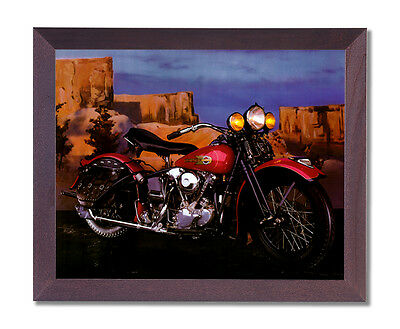 Knucklehead Harley Davidson Motorcycle Wall Picture Cherry Framed Art Print