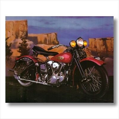 Knucklehead Harley Davidson Motorcycle Wall Picture Art Print