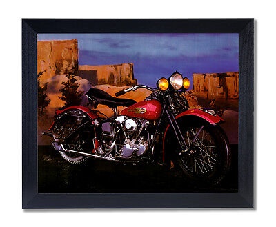 Knucklehead Harley Davidson Motorcycle Wall Picture Black Framed Art Print