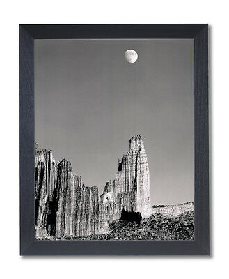 Moon Over Titan Nature Landscape Wall Picture Black Framed Art Print