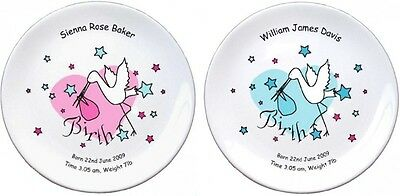 "Personalised Bone China Stork Baby Birth Plate 8"" Dia - Pink or Blue"