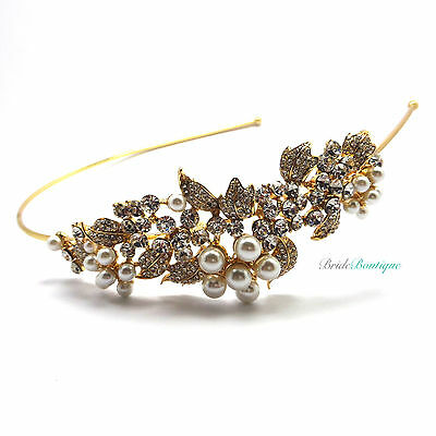 Bridal Vintage Crystal & Pearl Flower Leaf Vine Gold Side Headband Tiara TH23