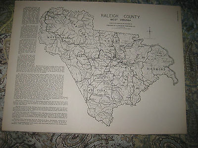 Antique 1933 Putnam Raleigh County West Virginia Map Beckley Nitro Winfield Nr