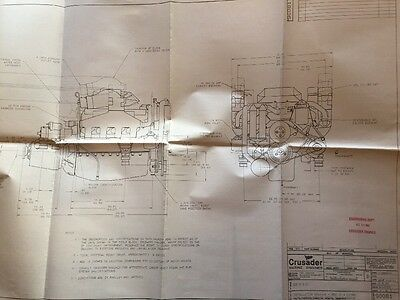 Crusader Marine Engine Dealer info Folder & 3 ENGINEERING DRAWINGS~305-350-454