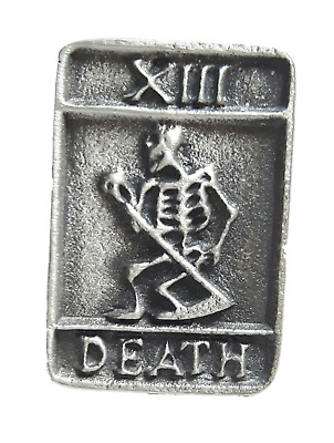 Death Tarrot Card Handcrafted From English Pewter Lapel Pin Badge + Gift Bag