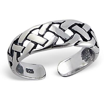 Sterling 925 Silver Toe Ring - Weave Design - Boxed