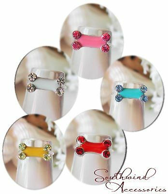 Dog Bone Toe Ring On A Stretch Illusion Band Your Choice In Color Of Crystals