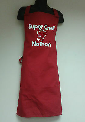 """Boys/Girls Personalised """"Super Chef"""" Apron Add Name 2 Sizes: Infant or Junior"""