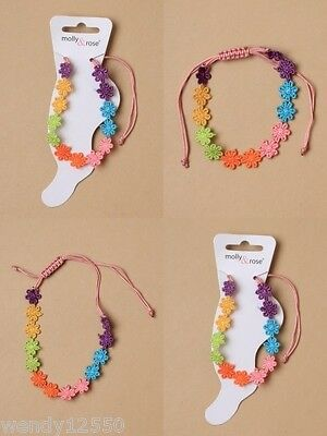 Pack Of 6 Bright Embroidered Daisy Chain Anklets, Adjustable - Sp-0066 Pk6