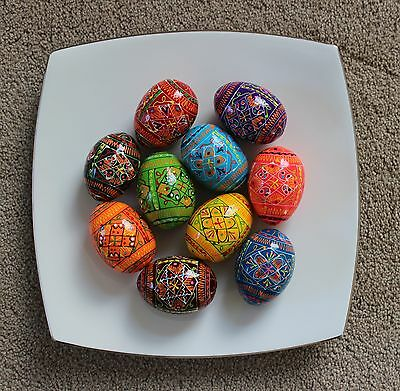10 Wooden Painted Ukrainian Easter Eggs Pysanka Pysanky Pisanki Chicken Size